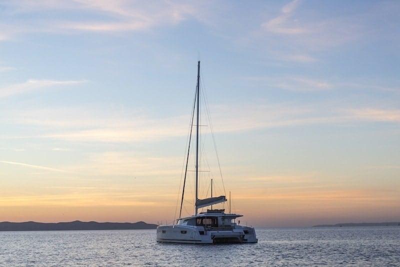 Saona 47 sunset at anchor