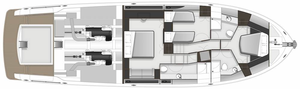 Maritimo M64 GA accommodation
