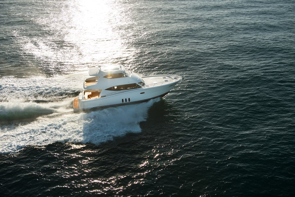 Maritimo M59 running sunset