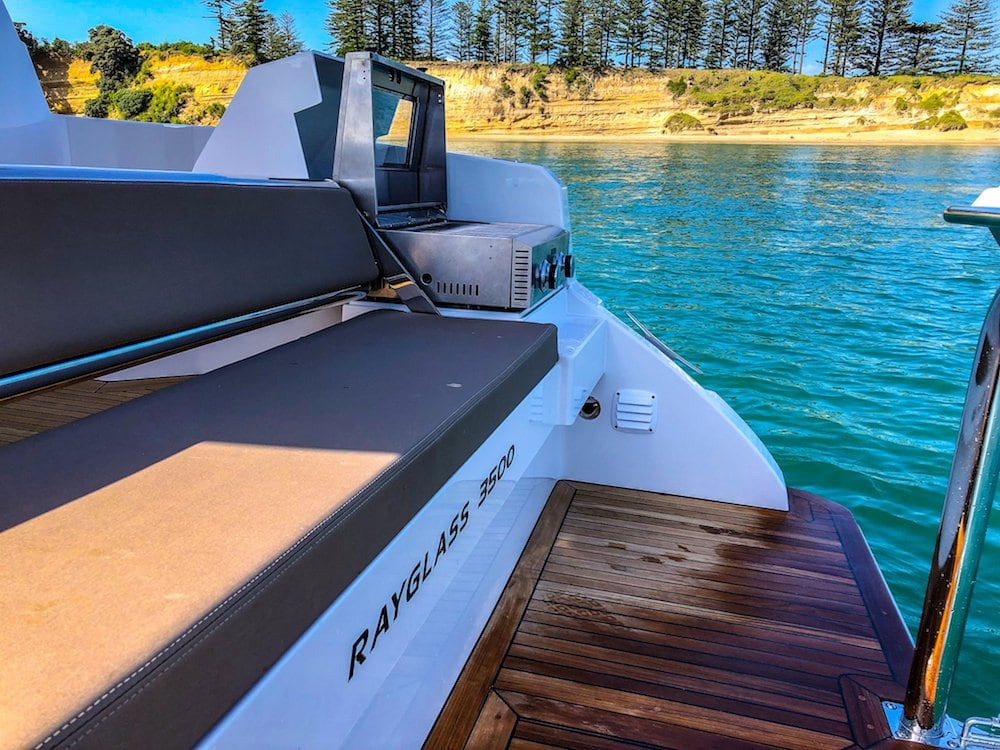 Rayglass 3500 stern and BBQ
